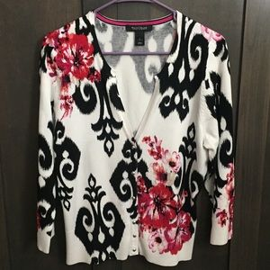 WHBM White Floral Cardigan w/ Snaps